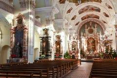 Inre av kyrkan på Engelberg Royaltyfria Bilder