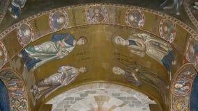 Inre av kyrkan av St Mary, Palermo, Sicilien, Italien Ken brännskadaeffekt lager videofilmer