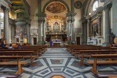 Inre av kyrkliga San Marco Facade i Florence, Italien Royaltyfri Fotografi