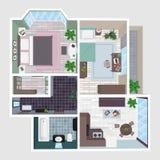 Inre av lägenheten i perspektiv Stock Illustrationer