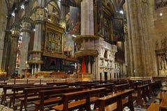 Inre av Milan Cathedral Duomo di Milano Arkivbilder