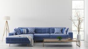 Inre av modern vardagsrum med tolkningen för soffa 3d arkivbilder