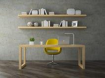 Inre av modernt kontorsrum med den gula tolkningen för fåtölj 3D Arkivbilder