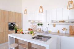 Inre av modernt ljust kök med variation av anordningar och fotografering för bildbyråer