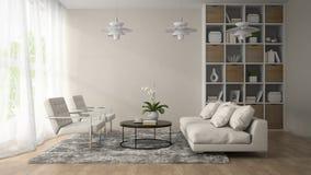 Inre av modernt rum med tre tolkningen för vita lampor 3D Royaltyfri Bild