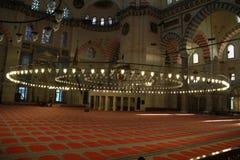 Inre av moskén för SÃ-¼leymaniye, Istanbul, Turkiet Royaltyfri Foto
