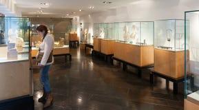 Inre av museet av Egypten i Barcelona, Spanien Arkivbilder
