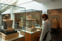 Inre av Museo Egipci i Barcelona, Spanien Arkivfoton