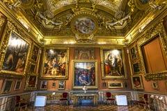 Inre av Palazzo Pitti, Florence, Italien Royaltyfri Foto