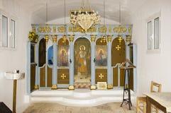 Inre av Profitis Ilias den ortodoxa kyrkan i Grekland Fotografering för Bildbyråer