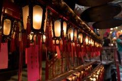 Inre av röda kinesiska lyktor i mannen Mo Temple Hong Kong Arkivfoto