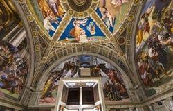 Inre av Raphael hyr rum, Vaticanenmuseet, Vaticanen Arkivbild
