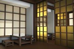 Inre av restaurangen i japansk stil Rispapper i fönster som glider delningar 3d, framför, illusen 3d Royaltyfri Bild