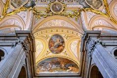 Inre av Royal Palace av Madrid, Spanien Arkivfoto