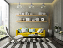 Inre av rum för modern design med den gula tolkningen för soffa 3D royaltyfria bilder