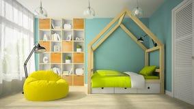 Inre av rum för modern design med den original- tolkningen för säng 3D stock illustrationer