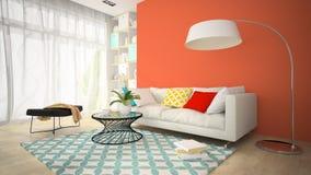 Inre av rum för modern design med den röda vasen 3D som framför 4 arkivbild