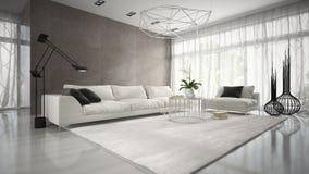 Inre av rum för modern design med den vita tolkningen för soffa 3D Arkivbild