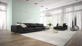 Inre av rum för modern design med tolkningen för svart soffa 3D royaltyfri bild