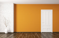 Inre av rum med tolkningen för dörr 3d Arkivfoto