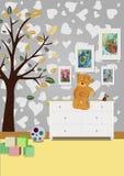 Inre av rummet för barn` s med möblemang, leksaker, Arkivbild