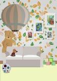 Inre av rummet för barn` s med möblemang, leksaker, Royaltyfria Foton