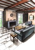 Inre av rummet i ett landshus, i en stuga, i en villa, i en ladugård Royaltyfri Bild