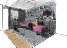 Inre av rummet i ett landshus, i en stuga, i en villa, i en ladugård Royaltyfri Foto