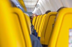 Inre av Ryanair Boeing 737 flygplan fotografering för bildbyråer