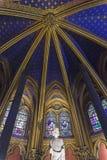 Inre av Sainte-Chapelle royaltyfria foton