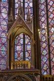 Inre av Sainte-Chapelle i Paris Arkivfoton