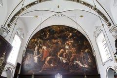 Inre av sainteanne chrurch, Bruges, Belgien Arkivfoto