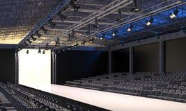 Inre av salongen med det tomma podiet för modeshower Modelandningsbana, innan att börja av trendig skärm visuali 3D Royaltyfri Bild