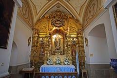 inre av San Ildefonso Church, Toledo, Spanien Arkivbilder