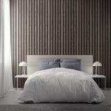 Inre av sovrummet med den wood plankaväggen, tolkning 3D stock illustrationer