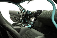 Inre av sportbilen på en vit bakgrund Royaltyfria Bilder