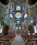 Inre av St Panteleimon Cathedral i nya Athos Monastery Arkivfoton