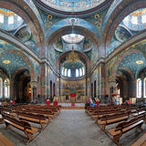 Inre av St Panteleimon Cathedral i nya Athos Monastery Royaltyfri Bild