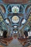 Inre av St Panteleimon Cathedral i nya Athos Monastery Royaltyfria Bilder
