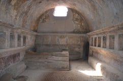Inre av Stabian badar (Terme Stabiane), Pompeii Arkivbild