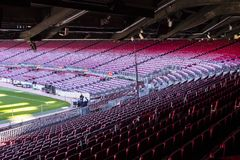 Inre av stadionställningarna och de inomhus utrymmena Camp Nou i Barcelona i Spanien Arkivfoton