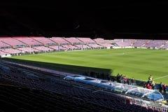 Inre av stadionställningarna och de inomhus utrymmena Camp Nou i Barcelona i Spanien Arkivbilder