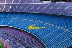 Inre av stadionställningarna och de inomhus utrymmena Camp Nou i Barcelona i Spanien Royaltyfri Fotografi