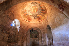 Inre av Sten Nicholas Church Demre Turkey Arkivfoton