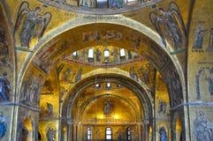 Inre av Sts Mark basilika Venedig, Italien. Arkivfoton