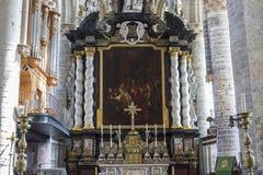 Inre av Sts Nicholas kyrka, Ghent, Belgien Royaltyfri Foto