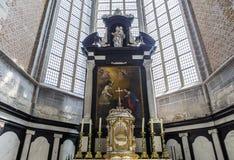 Inre av Sts Nicholas kyrka, Ghent, Belgien Arkivbilder