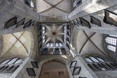 Inre av Sts Nicholas kyrka, Ghent, Belgien Arkivfoto