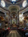 Inre av Sts Peter kyrka, Wien, Österrike Royaltyfri Bild
