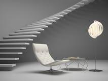 Inre av tolkningen för rum 3D för modern design royaltyfria foton